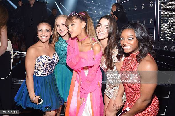 Laurie Hernandez Madison Kocian Ariana Grande Aly Raisman and Simone Biles attend the 2016 MTV Video Music Awards at Madison Square Garden on August...
