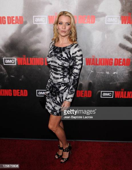 Laurie Holden arrives at the Los Angeles premiere of AMC's 'The Walking Dead' at ArcLight Cinemas Cinerama Dome on October 26 2010 in Hollywood...