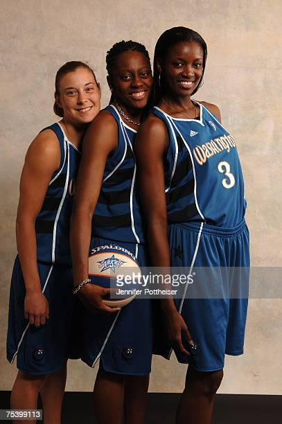 Laurie Koehn Nikki Teasley and DeLisha MiltonJones of the Washington Mystics pose for a portrait during the 2007 WNBA AllStar Media Availability on...