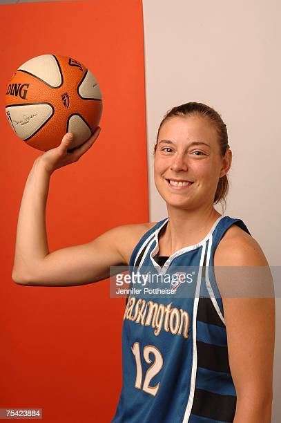 Laurie Koehn of the Washington Mystics poses for a portrait after winning the 3 Point Shootout prior to the 2007 WNBA AllStar Game on July 15 2007 at...