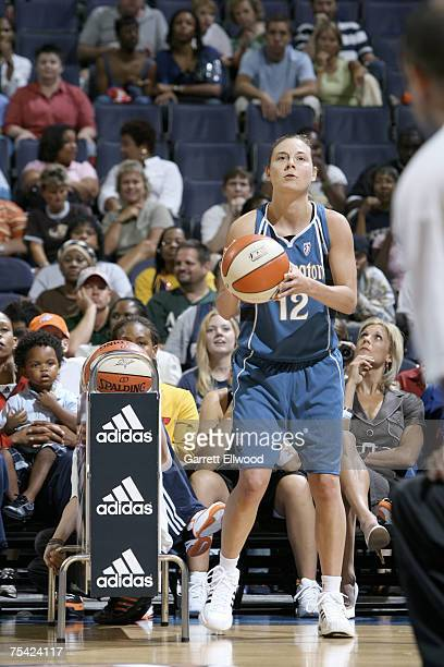 Laurie Koehn of the Washington Mystics shoots during the 3 Point Shootout prior to the 2007 WNBA AllStar Game presented by Discover Card on July 15...