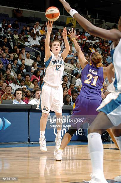 Laurie Koehn of the Washington Wizards moves the ball against the Los Angeles Sparks during the WNBA game on May 26 2005 at MCI Center in Washington...