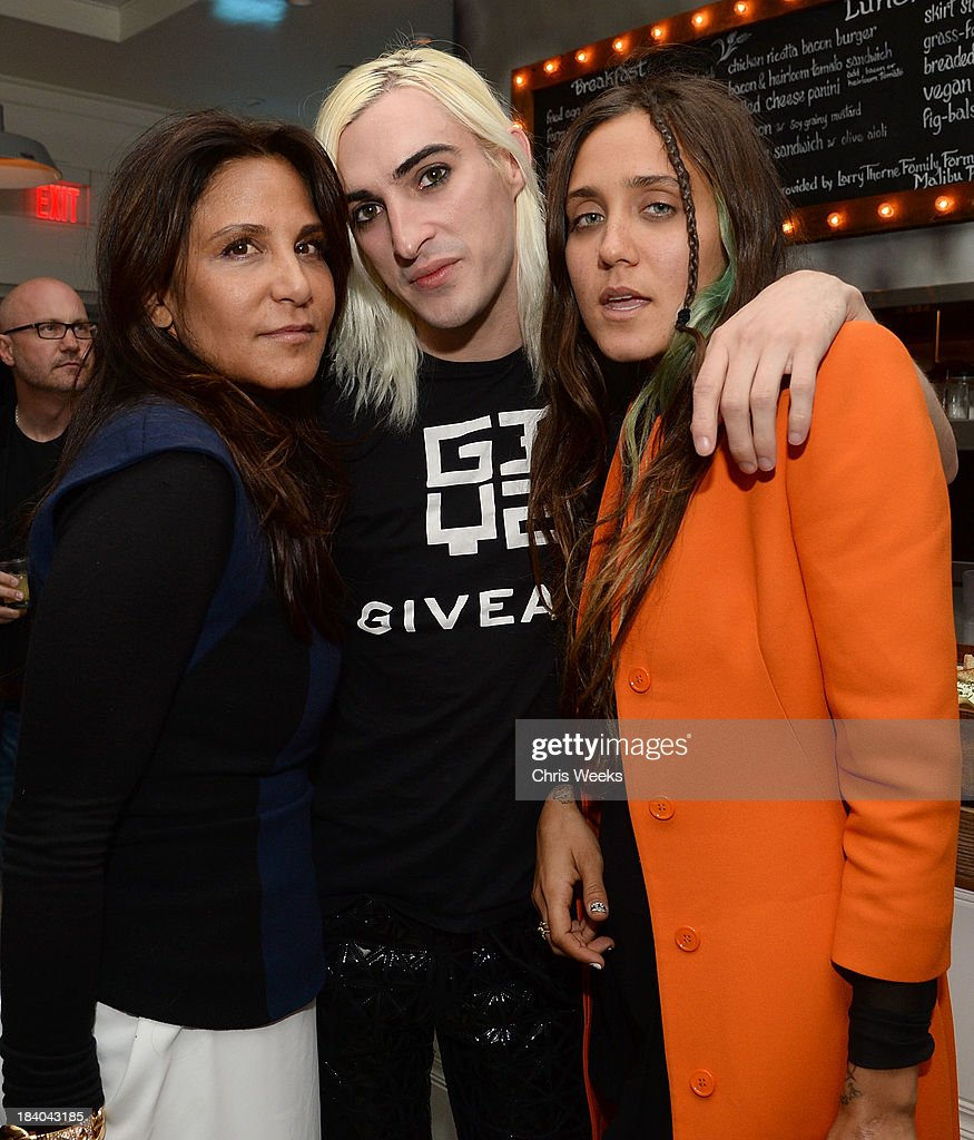 Laurie Lynn Stark, Carson McCall and Jesse Jo Stark attend a dinner for Gareth Pugh hosted by Chrome Hearts at Malibu Farm on October 10, 2013 in Malibu, California.