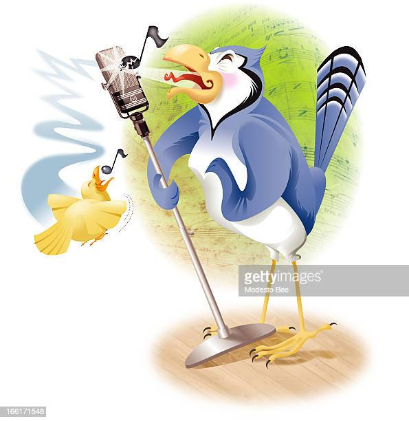 Laurie McAdam color illustration of a bluejay and a canary singing into a microphone