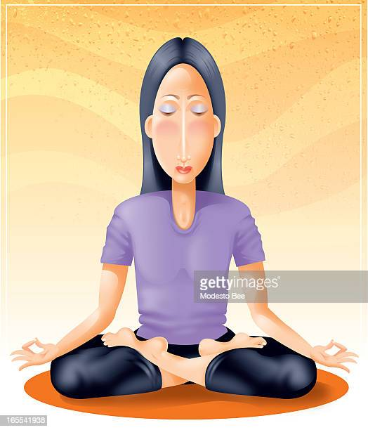 Laurie McAdam color illustration of a woman doing yoga sitting in the lotus position
