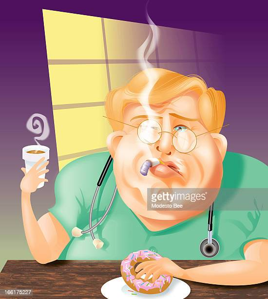 Laurie McAdam color illustration of an unhealthy doctor smoking drinking coffee and eating a doughnut