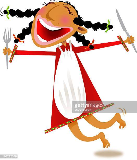 Laurie McAdam color illustration of happy young girl holding knife and fork