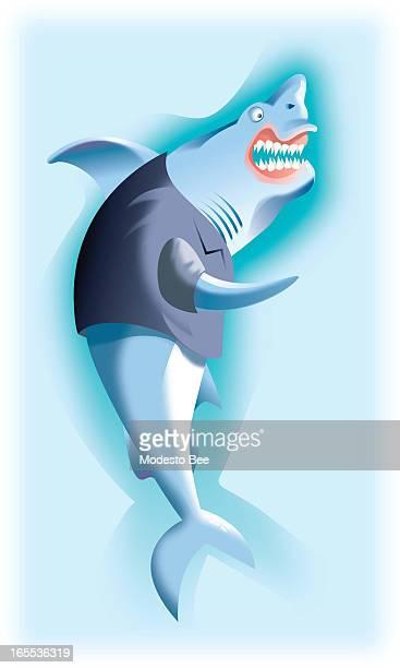 Laurie McAdam color illustration of menacing shark in suit jacket