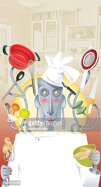 Laurie McAdam color illustration of robot chef connected to a multitude of kitchen gadgets