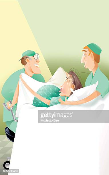 Laurie McAdam color illustration of woman on delivery table with obstetrician and husband by her side