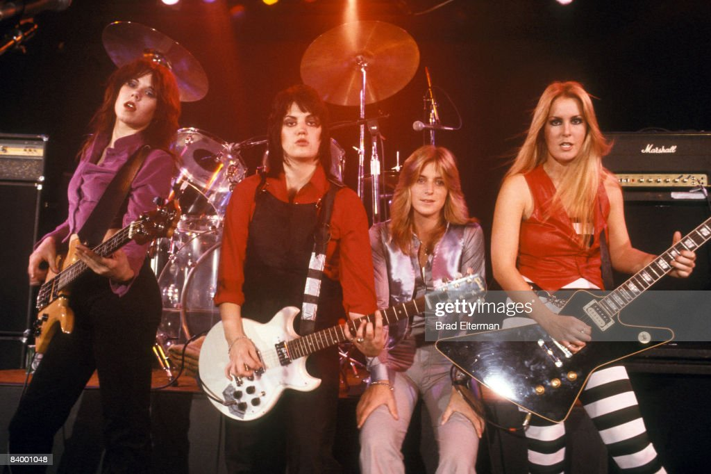 Laurie McAllister, Joan Jett of The Runaways, Sandy West and Lite Ford at a concert at The Roxy in Los Angeles, California.