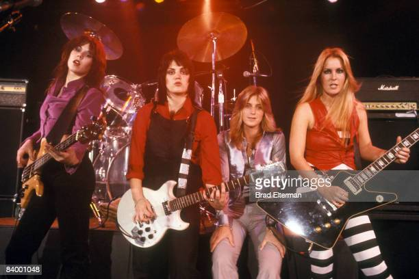 Laurie McAllister Joan Jett of The Runaways Sandy West and Lite Ford at a concert at The Roxy in Los Angeles California