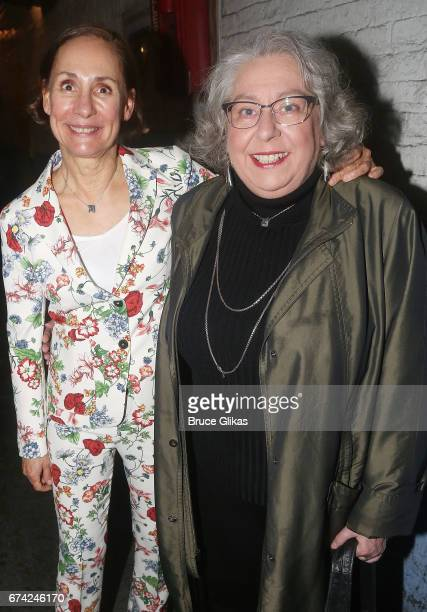 Laurie Metcalf and Jayne Houdyshell pose at the opening night of the play 'A Doll's House Part 2' on Broadway at The Golden Theatre on April 27 2017...