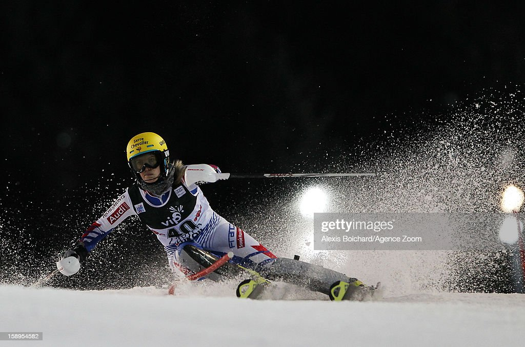 Laurie Mougel of France competes during the Audi FIS Alpine Ski World Cup Women's Slalom on January 4, 2013 in Zagreb, Croatia.