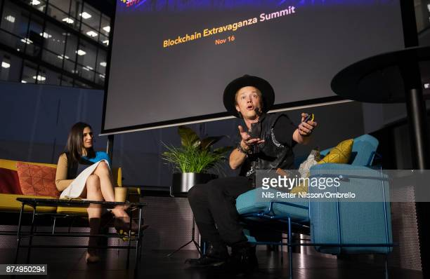 Laurie Segall of CNN and Brock Pierce during the Sime Awards at Epicenter on November 16 2017 in Stockholm Sweden