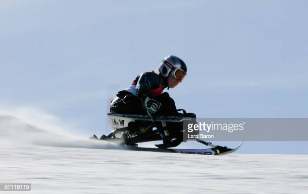 Laurie Stephens of the United States of America competes on her way to winning the Silver Medal in the Women's Giant Slalom Sitting during Day Seven...