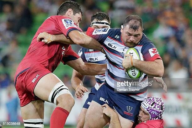 Laurie Weeks of the Rebels drives the ball forward during the round three Super Rugby match between the Rebels and the Reds at AAMI Park on March 12...