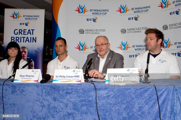 Laurie Williams Oscar Pistorius Sir Philip Craven MBE member of the International Paralympic Committee and Dan Greaves during a photocall at the...
