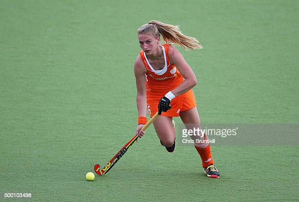 Laurien Leurink of the Netherlands in action during the Hockey World League Final Pool A match between the Netherlands and Germany at Estadio...