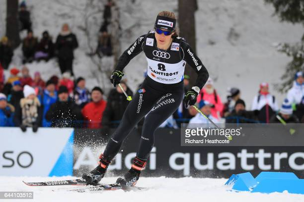 Laurien Van Der Graaff of Switzerland competes in the Women's 14KM Cross Country Sprint qualification round during the FIS Nordic World Ski...