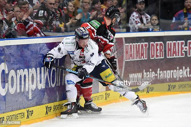 Laurin Braun of the Eisbaeren Berlin and Moritz Mueller of the Koelner Haien during the DEL playoff match between Koelner Haie and the Eisbaeren...