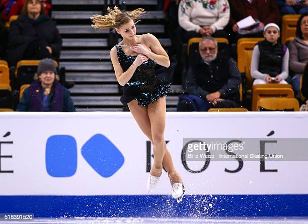 Laurine Lecavelier of France competes during Day 4 of the ISU World Figure Skating Championships 2016 at TD Garden on March 31 2016 in Boston...