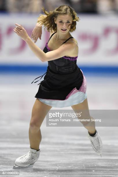 Laurine Lecavelier of France competes in the Ladies free skating during the 3rd day of the ISU World Team Trophy 2017on April 22 2017 in Tokyo Japan