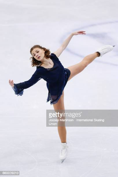 Laurine Lecavelier of France competes in the Ladies Short Program during day one of the World Figure Skating Championships at Hartwall Arena on March...