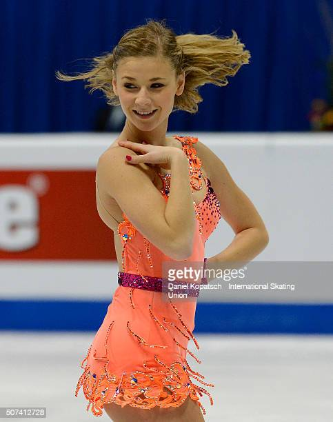 Laurine Lecavelier of France performs during the Ladies Free Skating during day three of the ISU European Figure Skating Championships 2016 on...