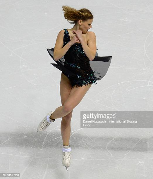 Laurine Lecavelier of France performs during the Ladies Short Program during day one of the ISU European Figure Skating Championships 2016 on January...