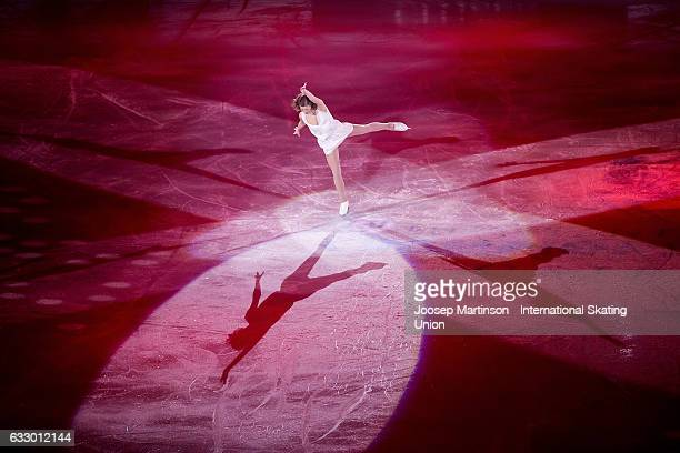 Laurine Lecavelier of France performs in the gala exhibition during day 5 of the European Figure Skating Championships at Ostravar Arena on January...