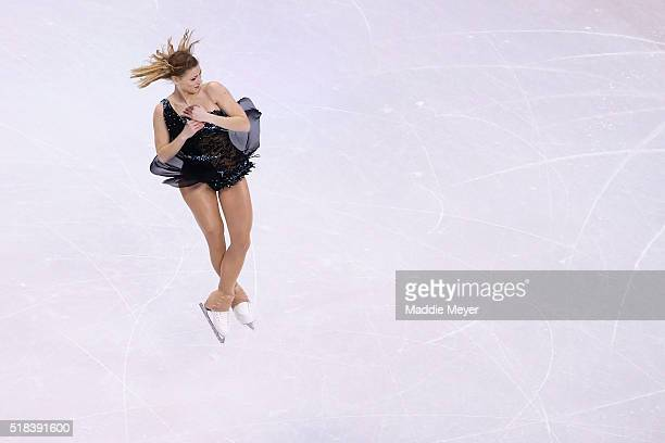 Laurine Lecavelier of France skates in the Ladies Short Program during Day 4 of the ISU World Figure Skating Championships 2016 at TD Garden on March...