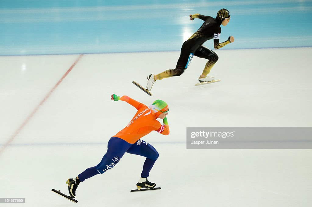 Laurine van Riessen (L) of the Netherlands competes against Miyako Sumiyoshi of Japan in the 500m race on day four of the Essent ISU World Single Distances Speed Skating Championships at the Adler Arena Skating Center on March 24, 2013 in Sochi, Russia.