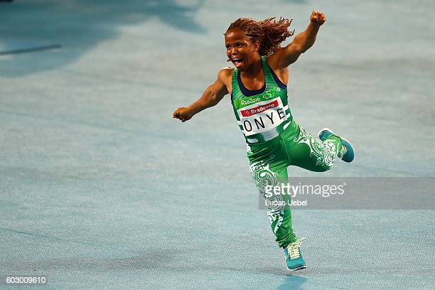 Lauritta Onye of Nigeria celebrates after breaking the world record in the Women's Shotput Final on day 4 of the Rio 2016 Paralympic Games at Olympic...