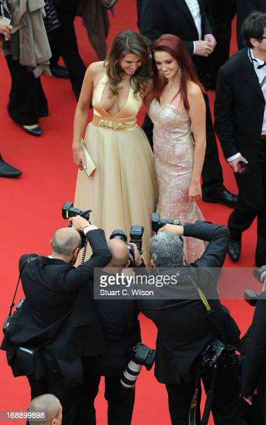 Laury Thilleman and Delphine Wespiser attend the 'Jeune Jolie' premiere during The 66th Annual Cannes Film Festival at the Palais des Festivals on...