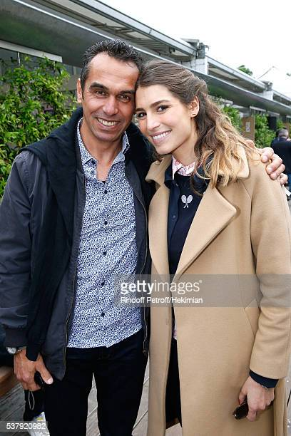 Laury Thilleman and her father Fabrice Thilleman attend Day Thirteen of the 2016 French Tennis Open at Roland Garros on June 3 2016 in Paris France