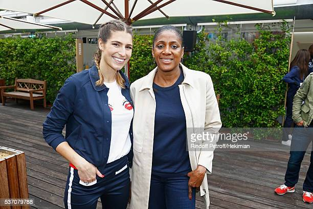 Laury Thilleman and Marie Jose Perec attend the French Tennis Open at Roland Garros on June 1 2016 in Paris France