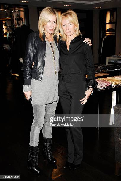 Lauryn Flynn and Carole Vargas attend Burberry and Men's Vogue Celebrate the Launch of Estate 1127 by Peter Saville at Burberry on October 1 2008 in...