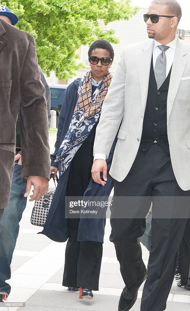 Lauryn Hill arrives at court on May 6, 2013 in Newark, New Jersey. Hill plead guilty to tax evasion charges in June 2012 for failure to pay federal taxes on $1.8 million earned from 2005-2007. She faces a maximum one-year jail sentence for each of the three accounts. The sentencing date was postponed from April 22nd.