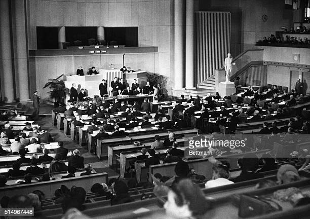 Lausanne Switzerland A general view of the chamber during the signing of the Geneva Conventions drawn up in diplomatic conferences last year setting...