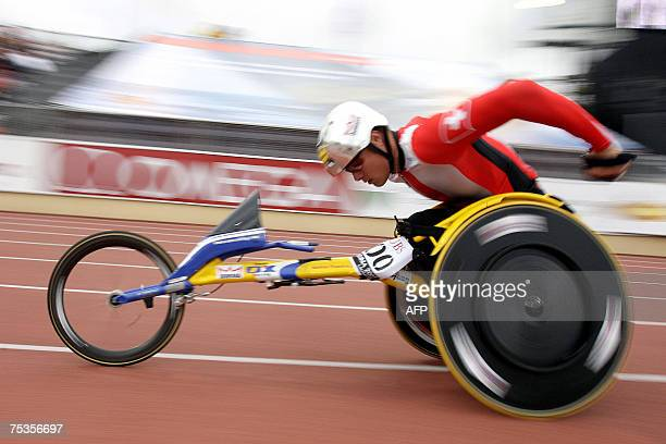 Marcel Hug of Switzerland is on his way to win the 1500m wheelchair race at the athletics IAAF Super Grand Prix Athletissima in Lausanne 10 July 2007...
