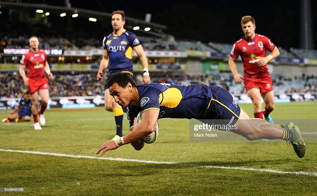 Lausii Taliauli of the Brumbies dives to score a try during the round 15 Super Rugby match between the Brumbies and the Reds at GIO Stadium on July 1, 2016 in Canberra, Australia.