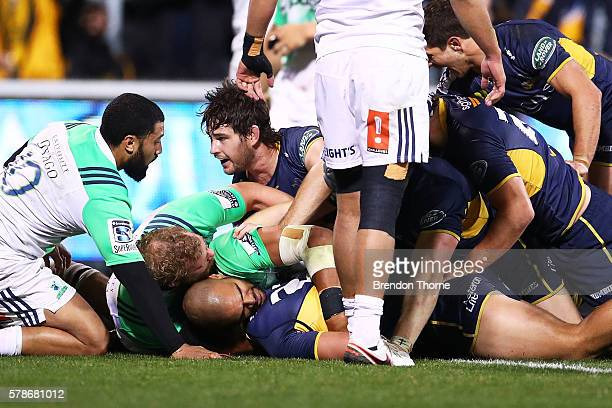 Lausil Taliauli of the Brumbies is denied a try by referee Angus Gardner during the Super Rugby Quarterfinal match between the Brumbies and the...