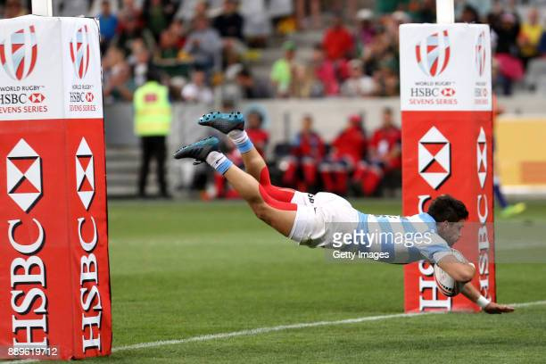 Lautaro Bazan Velez of Argentina goes over during the 2017 HSBC Cape Town Sevens Cup Final match between New Zealand and Argentina at Cape Town...