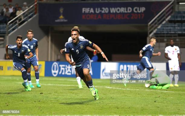 Lautaro Martinez of Argentina celebrates scoring their fifth goal during the FIFA U20 World Cup Korea Republic 2017 group A match between Guinea and...