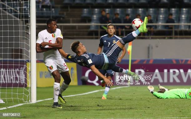 Lautaro Martinez of Argentina performs an over head kick towards goal during the FIFA U20 World Cup Korea Republic 2017 group A match between Guinea...