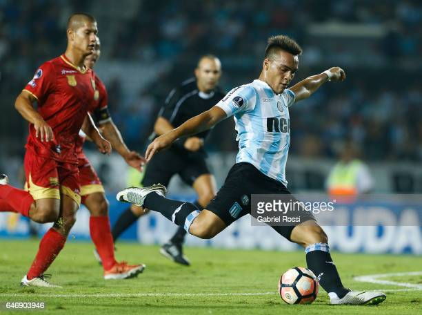 Lautaro Martinez of Racing Club kicks the ball during a first leg match between Racing and Rionegro Aguilas as part of first round of Copa Conmebol...