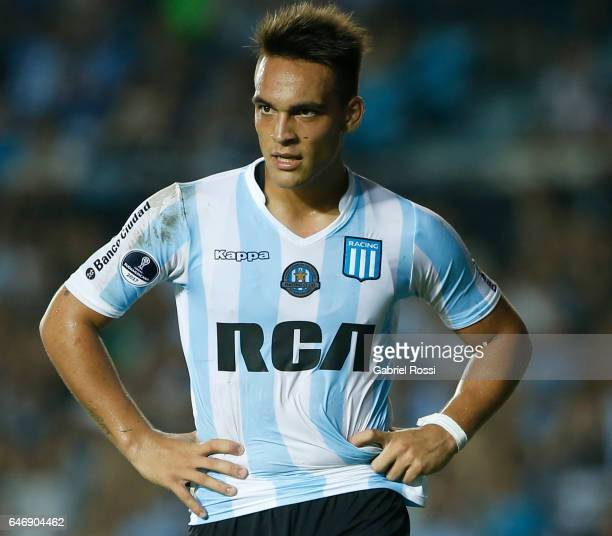 Lautaro Martinez of Racing Club looks on during a first leg match between Racing and Rionegro Aguilas as part of first round of Copa Conmebol...