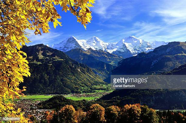 Lauterbrunnen valley with Eiger, Monch, Jungfrau, in front Interlaken and Wilderswil, Canton of Bern, Switzerland