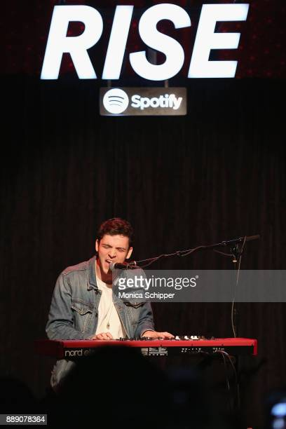 Lauv performs onstage as Spotify hosts a special event for Lauv a RISE artist and his fans at Slipper Room on December 9 2017 in New York City